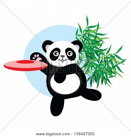 Panda plays flying disc. Cute panda is playing in the outside