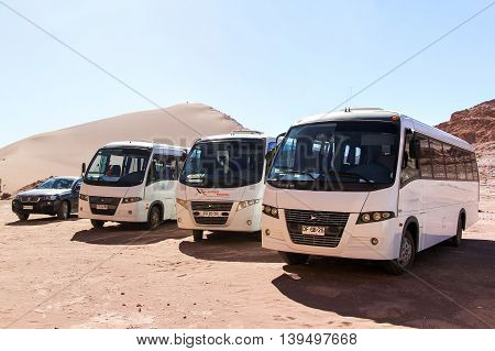 Touristic Buses In Desert