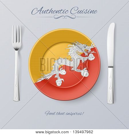 Authentic Cuisine of Bhutan. Plate with Bhutanese Flag and Cutlery