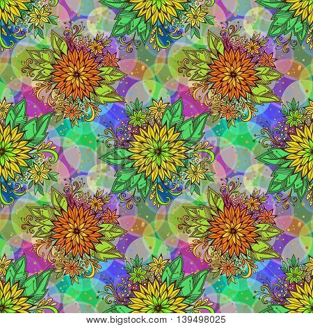 Seamless Background with Tile Floral Pattern, Symbolic Flowers and Leafs and Abstract Ornament. Eps10, Contains Transparencies. Vector
