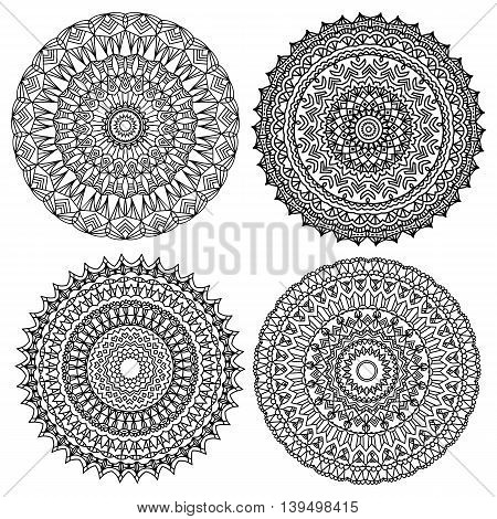 Black Mandala collection isolated over white backgound