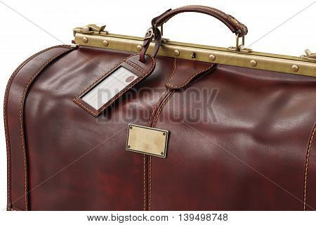 Travel suitcase brown leather accessory, bag, close view. 3D graphic