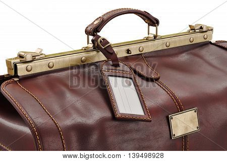 Travel bag classic with metal locks, close view. 3D graphic