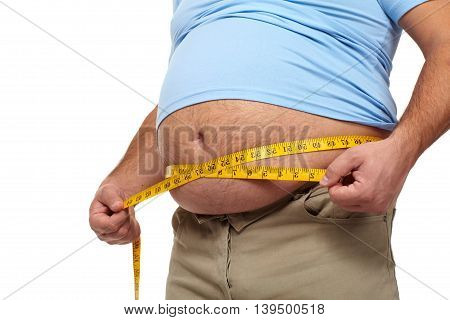 Fat man holding a measuring tape. Weight Loss.