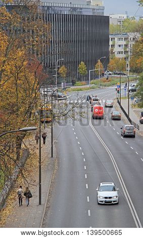 Warsaw, Poland - October 23, 2015: people are riding in cars on the road in Warsaw, Poland