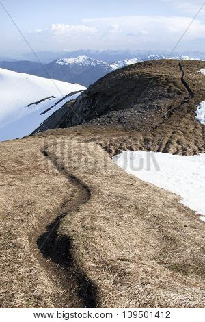 The curved path on a top of Mount Roberts 3819 foot (1164 m) above sea level (Juneau Alaska).