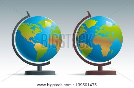 The subject of training, the school geographical globe on a stand realistic vector