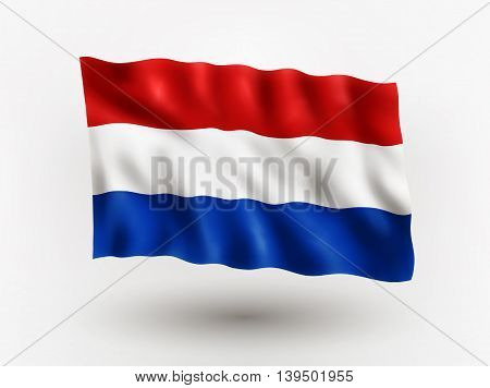 Illustration of waving flag of Netherlands isolated flag icon EPS 10 contains transparency.