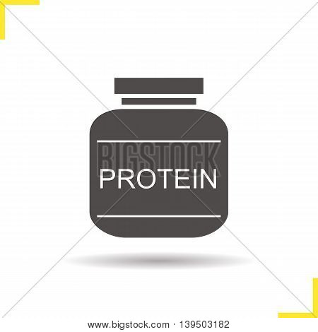 Protein powder icon. Drop shadow silhouette symbol. Vector isolated illustration
