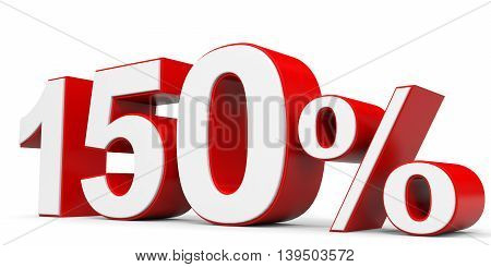 Discount 150 percent on white backgroundм. 3D illustration.