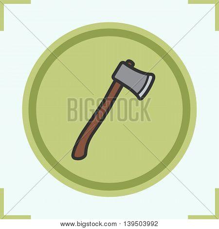 Axe color icon. Lumberjack ax. Hatchet vector isolated illustration