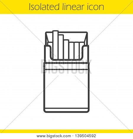 Open cigarette pack linear icon. Thin line illustration. Contour symbol. Vector isolated outline drawing