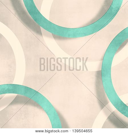 Retro circle background light beige with soft green circles - abstract vintage design - geometric pattern