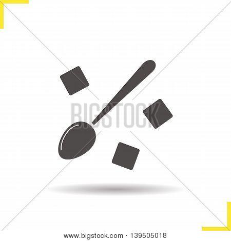 Lump sugar icon. Drop shadow silhouette symbol. Raffinate sugar with teaspoon. Vector isolated illustration