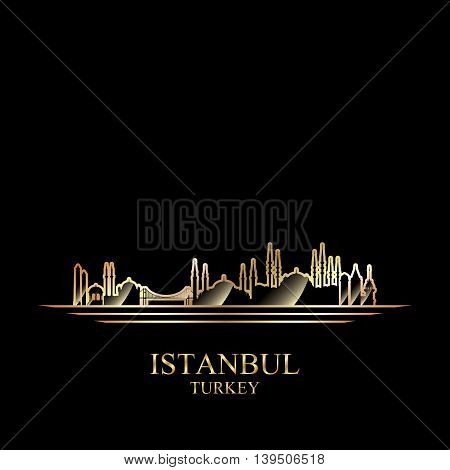 Gold silhouette of Istanbul on black background vector illustration