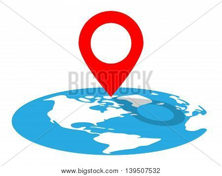 Location Pin And Globe. Vector Illustration Of A Location Pin Icon On Certain Place on the Globe