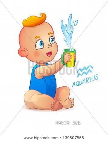 Zodiac sign Aquarius. Happy babyboy enjoys splashes in feeding cup. Water Game. Horoscope sign Aquarius.