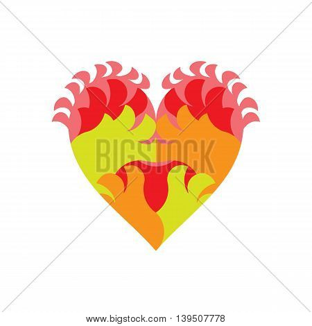 Fiery heart decorative composition in a heraldic effect with abstract flames