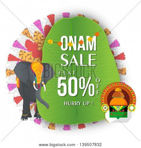 Onam Sale with Flat 50% Off, Creative Typographical Background on banana leaf with decorated elephant and kathakali dancer face, Can be used as Poster, Banner or Flyer design.