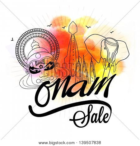 Onam Sale Poster, Banner or Flyer design, Creative line art illustration of Kathakali Dancer Face, Snake Boat and Elephant on colorful abstract background.