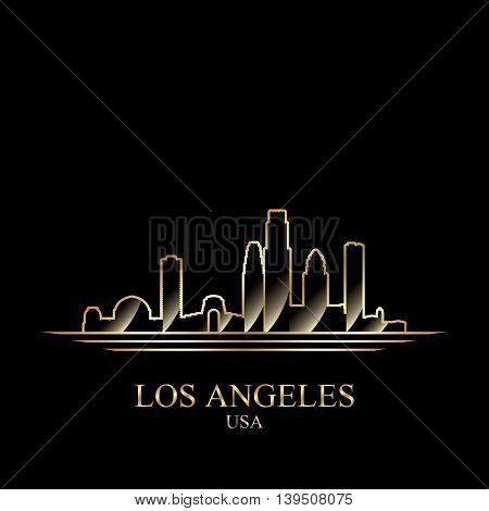 Gold silhouette of Los Angeles on black background vector illustration