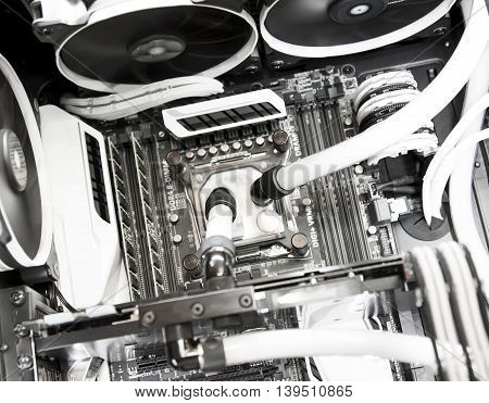 Inside computer water cooling system in white background
