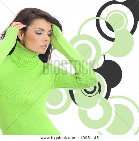 Fashion girl collage.  multicolor ring abstract background