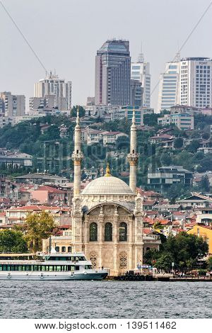Ortakoy Mosque Infront Of The Istanbul Panorama