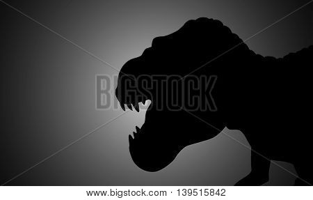 Silhouette illustration of a tyrannosaurus rex on dark background