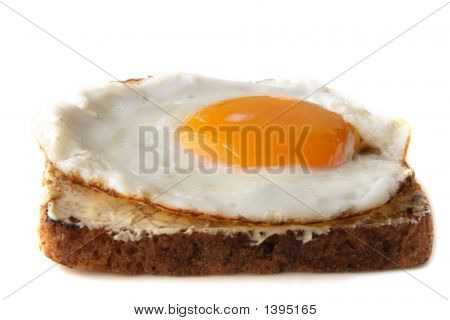Traditional Fried Egg On Buttered Toast