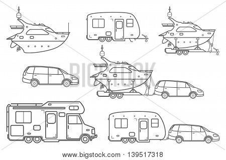 Travel line icons. Minivan, family car. Vector camping car. Caravan truck icon. Camper van line illustration. Camper trailer. Trailer boat. Pleasure boat. Yacht icon. Isolated on a White Background. poster
