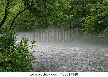 fog rises from the Nantahala River in North Carolina