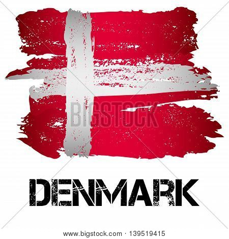 Flag of Denmark from brush strokes in grunge style isolated on white background. Country in Northern Europe. Vector illustration