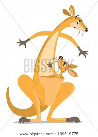 Childrens vector illustration with funny surprised mother kangaroo and kangaroo baby in the pouch, waving by hand