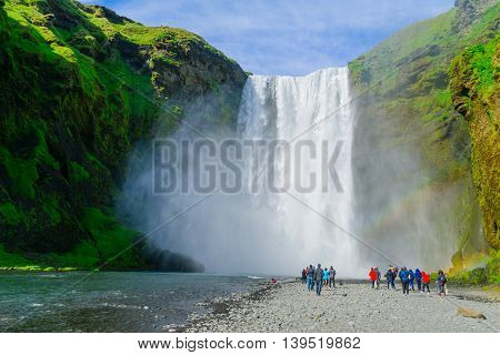 Skogafoss Waterfall, In South Iceland