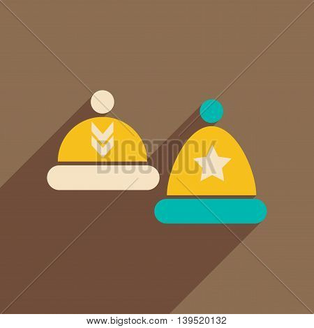 Flat icon with long shadow winter hats