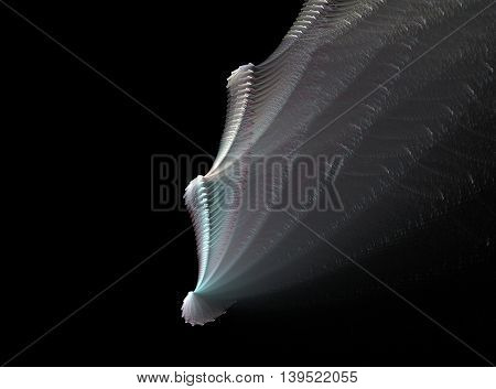 Abstract fractal mollusc computer generated image on black background