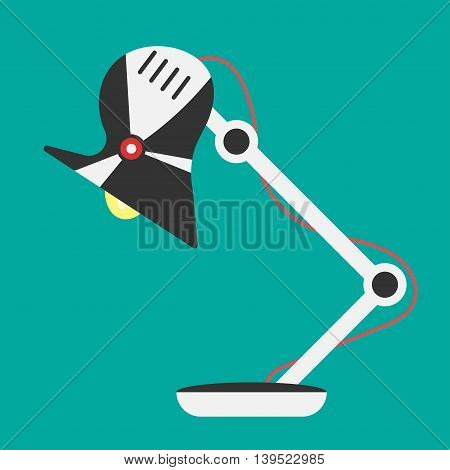 Desk lamp light icon. Vector office lamp light illustration. Concept of flat cartoon desk lamp light. Colorful table lamp light icon for your design. Flat cartoon lamp light isolated.The flow of light