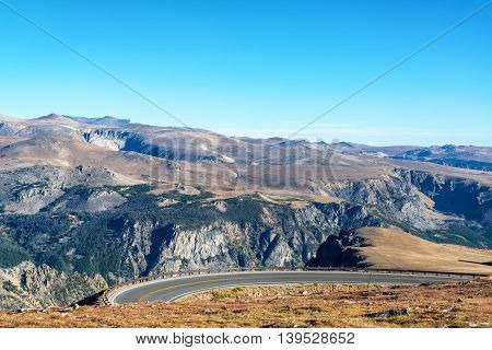 Curving Highway In Beartooth Mountains