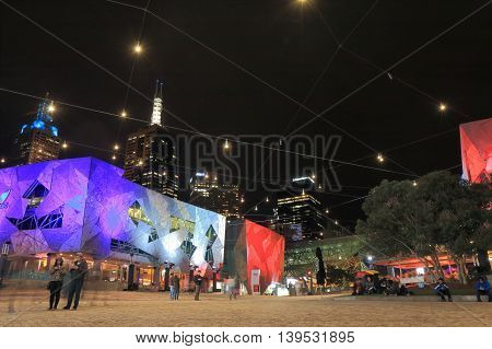 MELBOURNE AUSTRALIA - JULY 17,2016: Unidentified people visit Federation Square in downtown Melbourne.