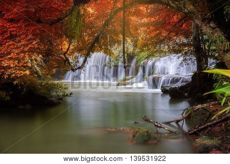 Palatha Waterfall Umphang Tak ,Thailand. Change color leaf concept in autumn scene.