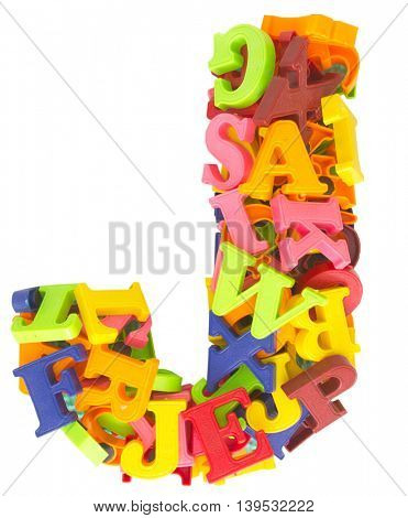 the letter J made from a lot of Magnetic letters