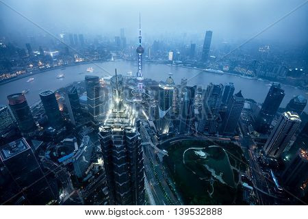 Shanghai skyline cityscape Aerial view of shanghai shanghai lujiazui finance and business district trade zone skyline Shanghai China