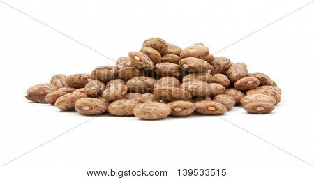 beautiful pinto beans on white background .