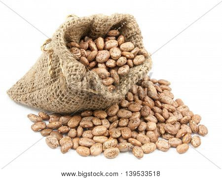Pinto Beans In Canvas Sack On White Background