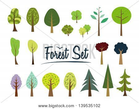 Vector forest set. Various trees and bushes colorful wood cartoons flat style. Fir pine spruce larch. Conifers and deciduous. Different simple trees and shrubs on white background.