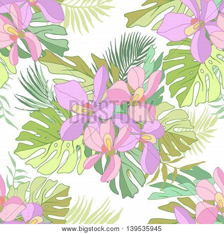 Seamless pattern of exotic flowers. Tropical flowers and palm leaves.