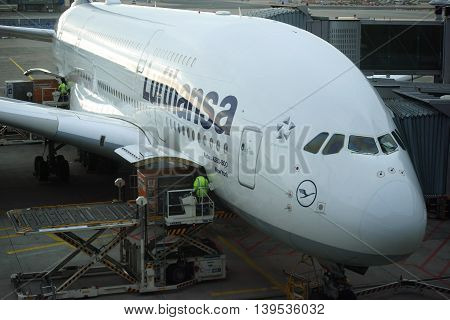 LOS ANGELES, UNITED STATES - DECEMBER 29: A passenger plane Airbus A380 from Lufthansa is ready for takeoff at the airport LAX on December 29, 2015 in Los Angeles.