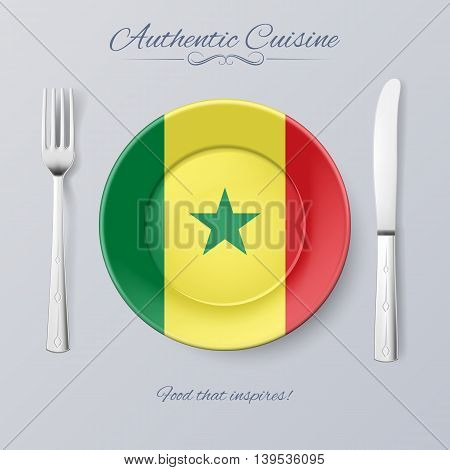 Authentic Cuisine of Senegal. Plate with Senegalese Flag and Cutlery