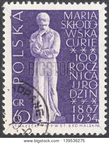 MOSCOW RUSSIA - CIRCA JANUARY 2016: a post stamp printed in POLAND shows Marie Sklodowska Curie statue the series